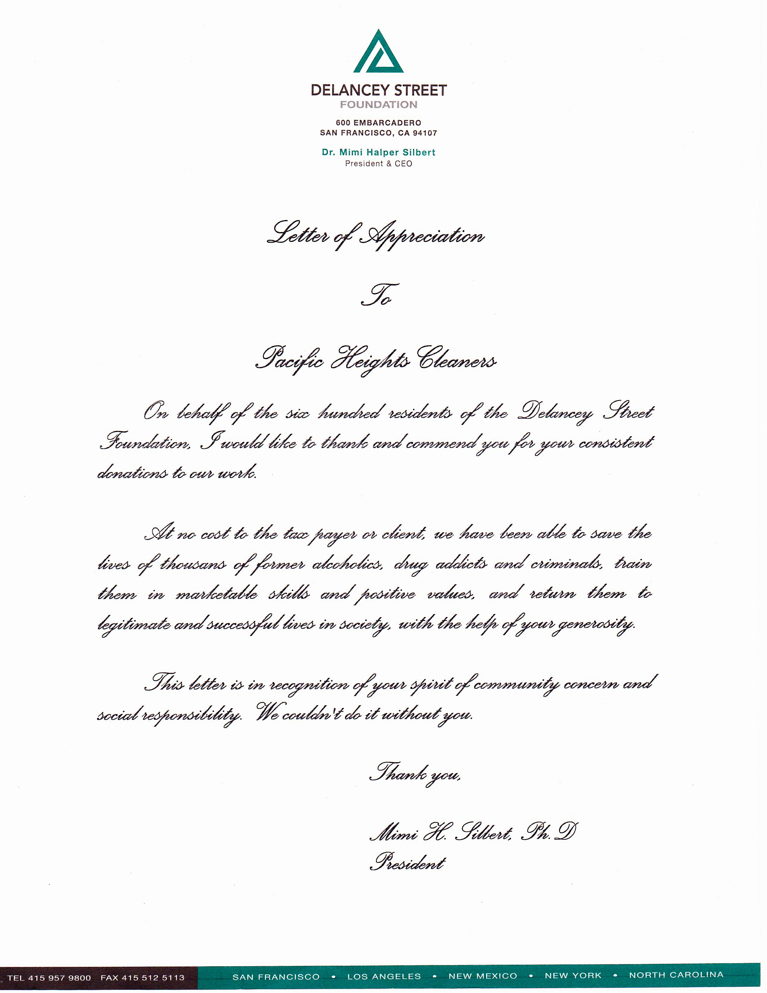 letter of appreciation from the delancy street foundation we